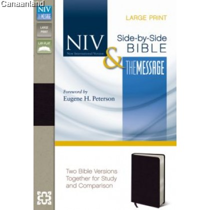 Parallel Bible - NIV, The Message, Large Print, Bonded Leather, Black