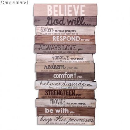 Stacked Wood Plaque - Believe (M)