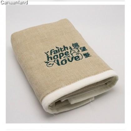 NS - 47010451 Cotton Gauze Towel-Faith.Hope.Love 纱布毛巾-信望爱. 带绿茶香 (两色) 35*74cm