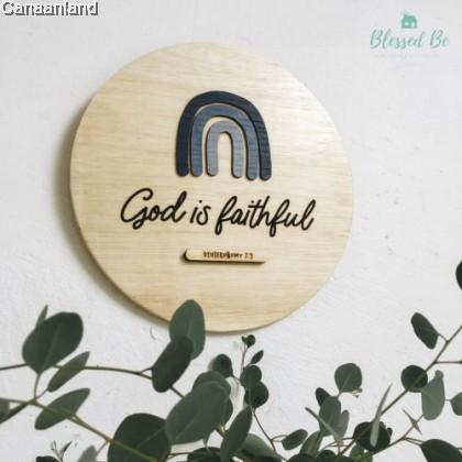 Selah Plaque - The Lord is Faithful, Blue Rainbow (BlessedBe)